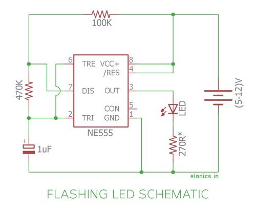 small resolution of flashing led circuit using 555 timer ic schematic
