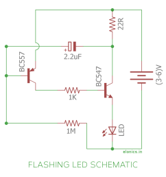 flashing blinking led circuit using transistors schematic [ 1200 x 1225 Pixel ]