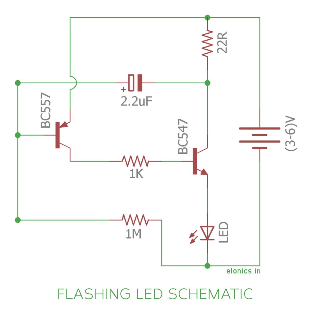 medium resolution of flashing blinking led circuit using transistors schematic