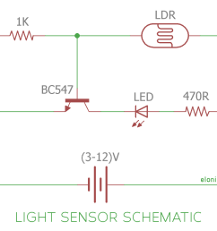 light sensor and darkness detector circuit using ldr and transistor dark detector sensor circuit diagram based on a photo resistor ldr [ 1200 x 961 Pixel ]