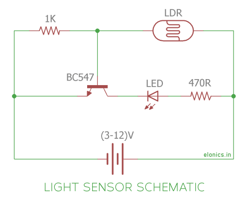 small resolution of light sensor using ldr and transistor circuit diagram