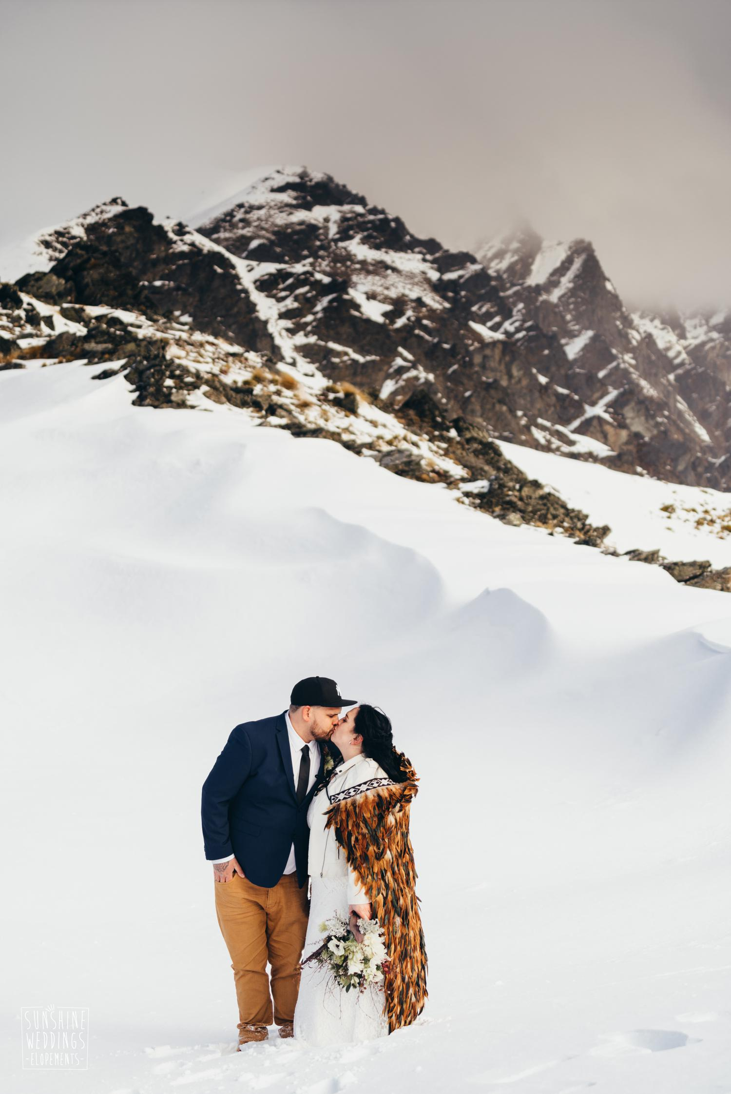 Queenstown winter mountain wedding