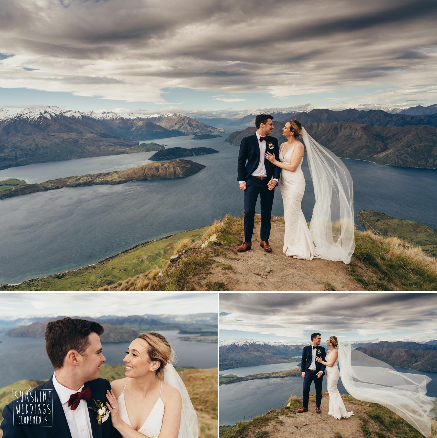 Coromandel Peak Lake Wanaka, iconic NZ wedding photograph, Wanaka wedding