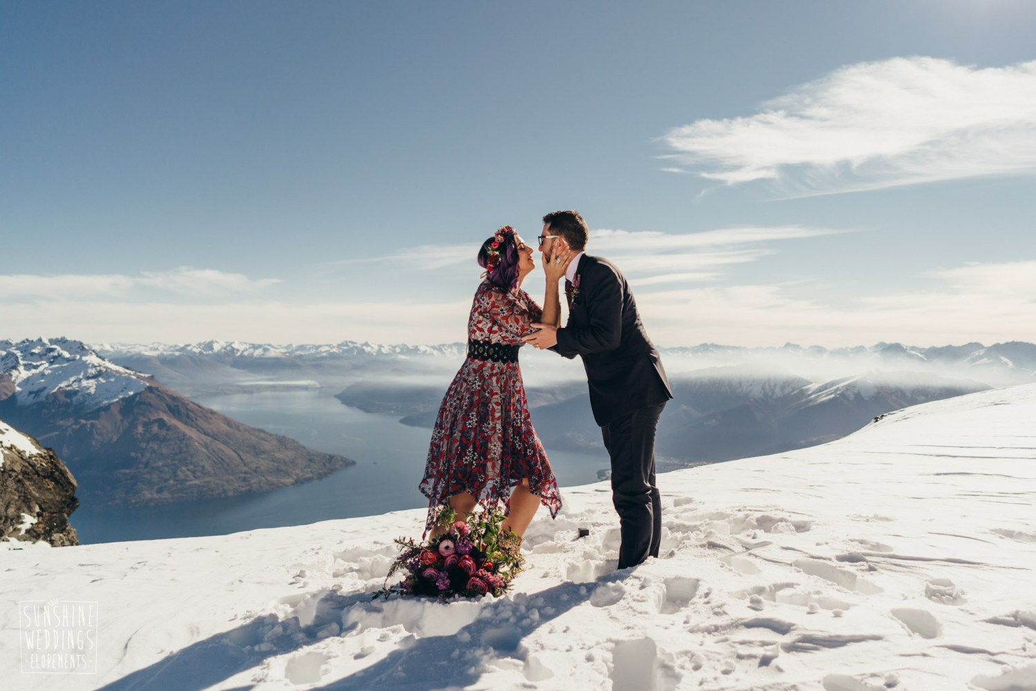 The Remarkables wedding, double cone, winter wedding, bride and groom in snow, spectacular mountain views in NZ