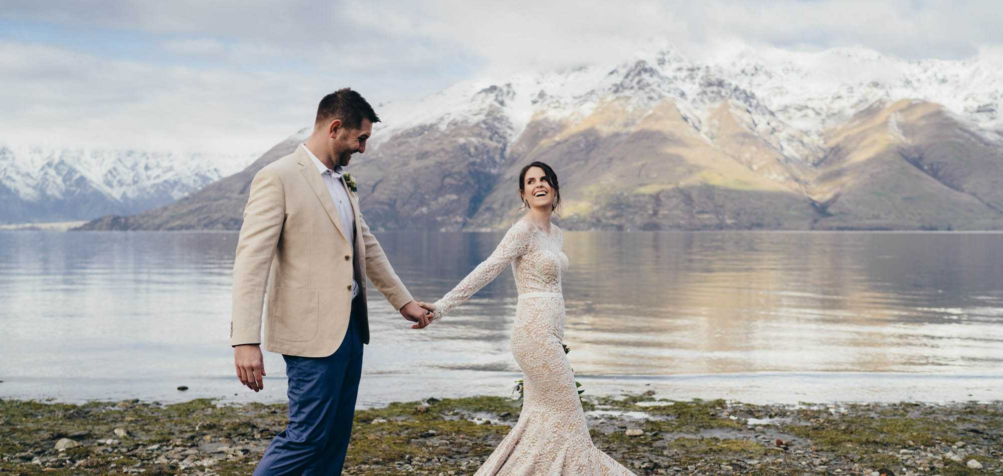 lake wedding Queenstown, 12 mile delta, winter wedding,