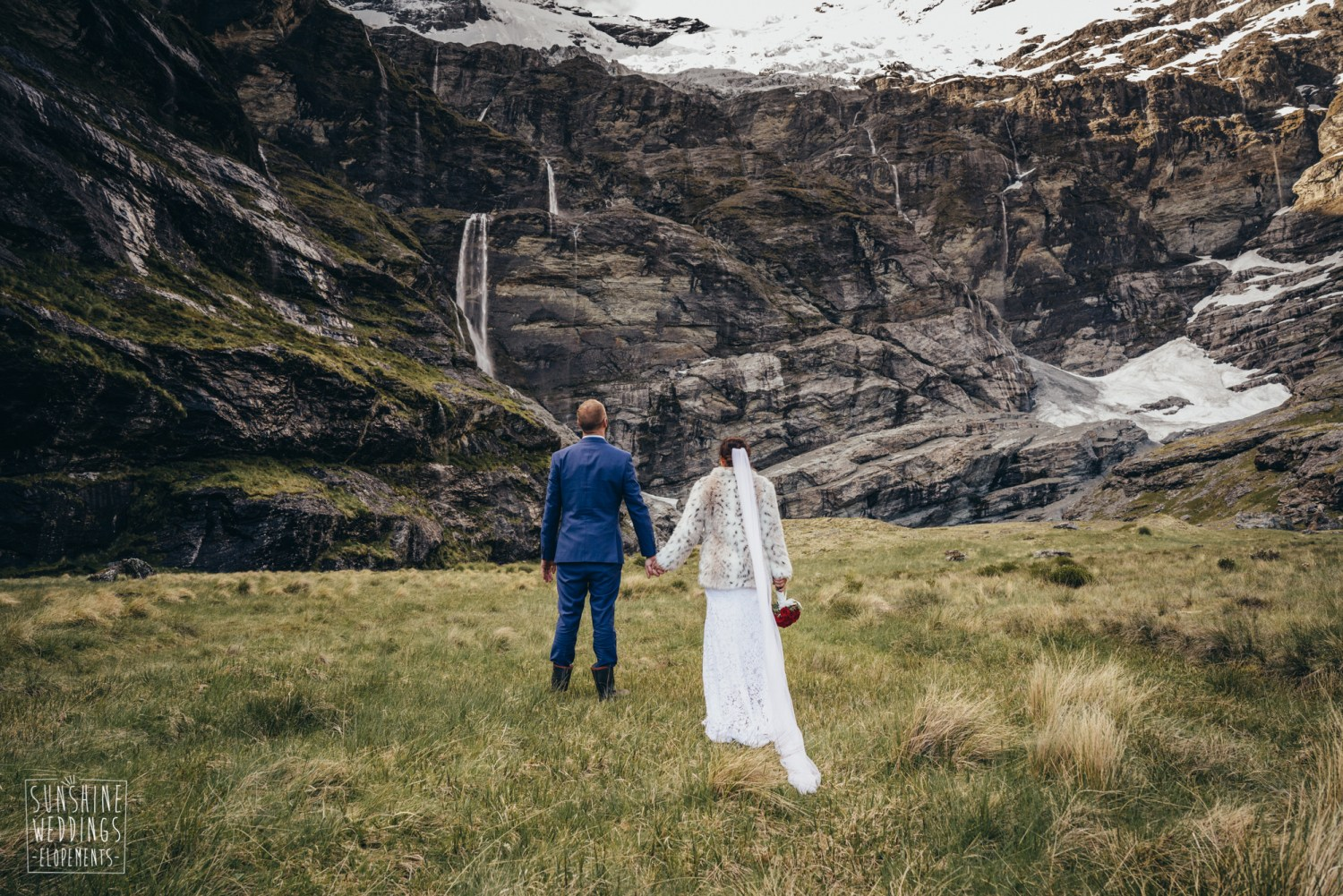 The hobbie film location, Earnslaw Burn wedding photography, Earnslaw Glacier, mountain wedding ceremony