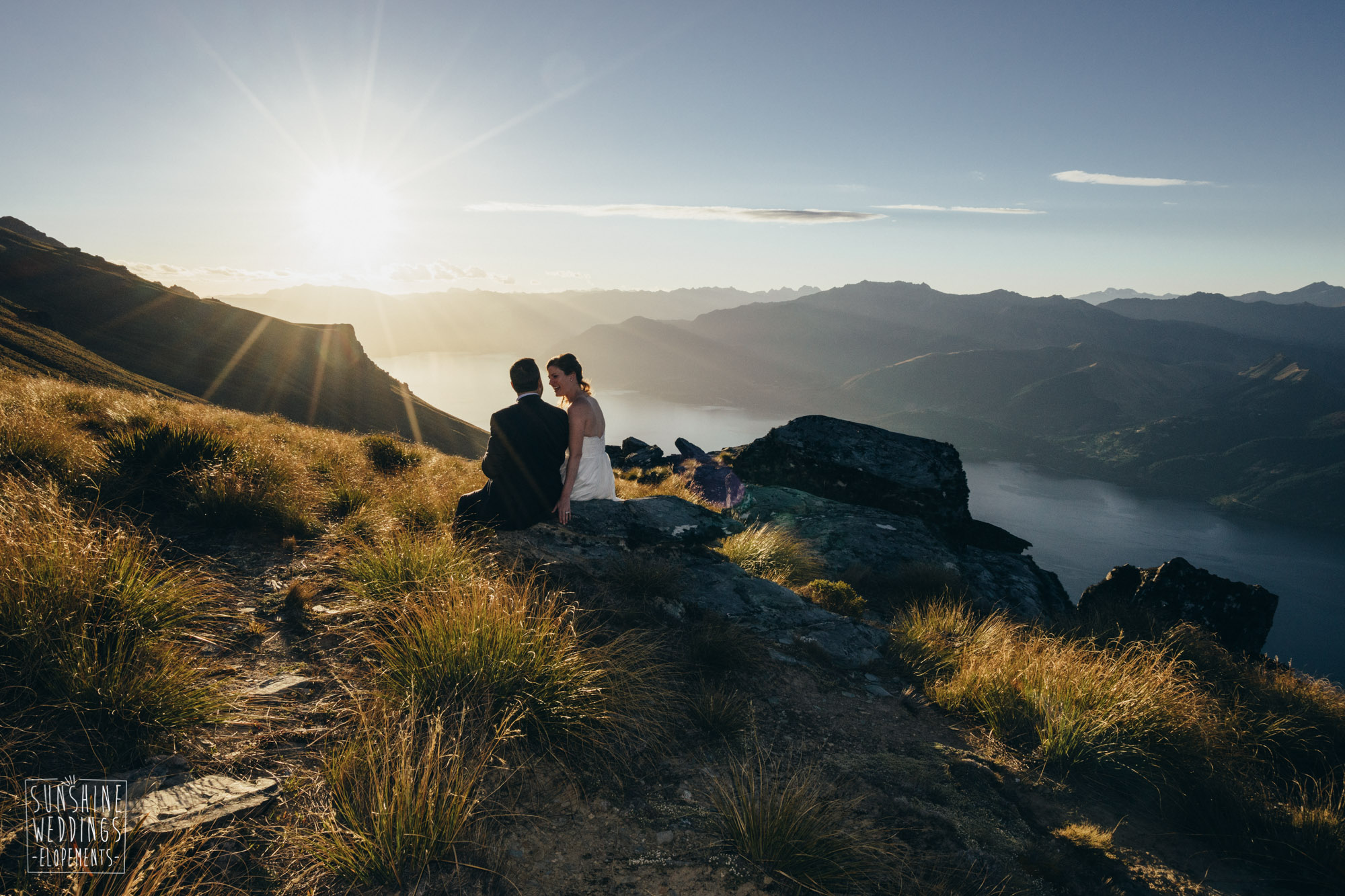 Sunset wedding on Island Spur Cecil Peak