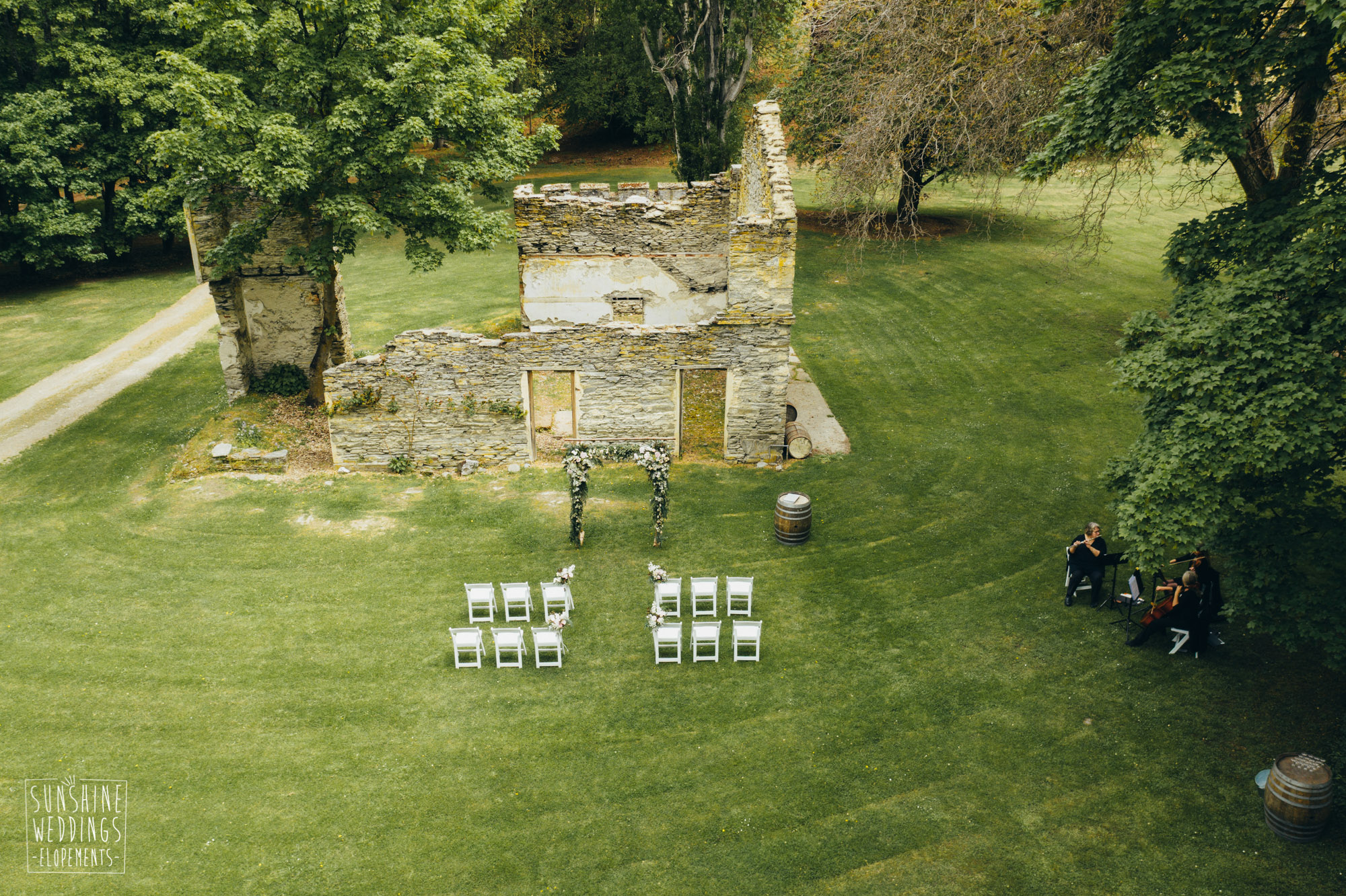 Thurlby Domain Queenstown aerial, drone shot of wedding, Thurlby Domain ceremony location