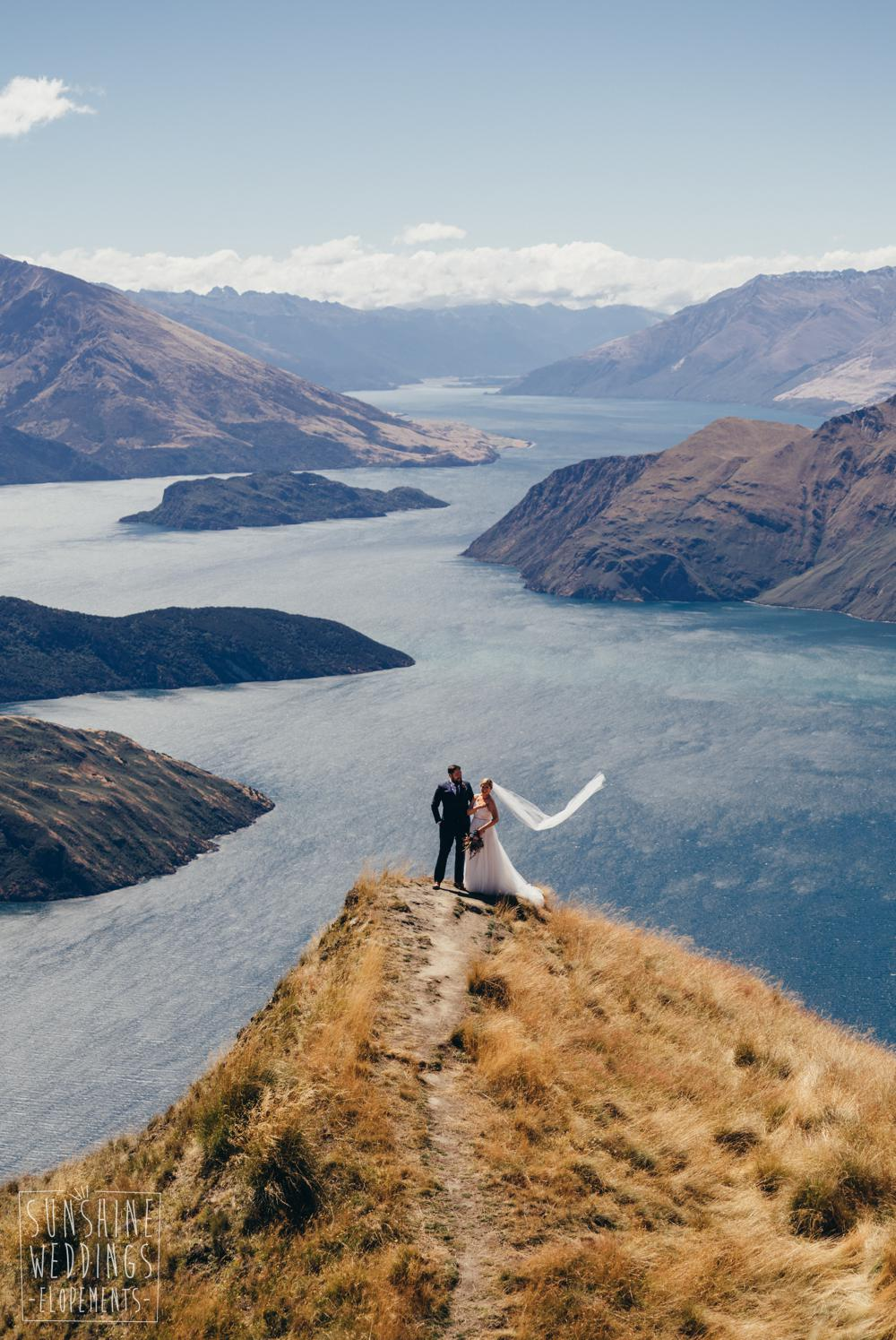 bride and groom on Mount Roy Wanaka