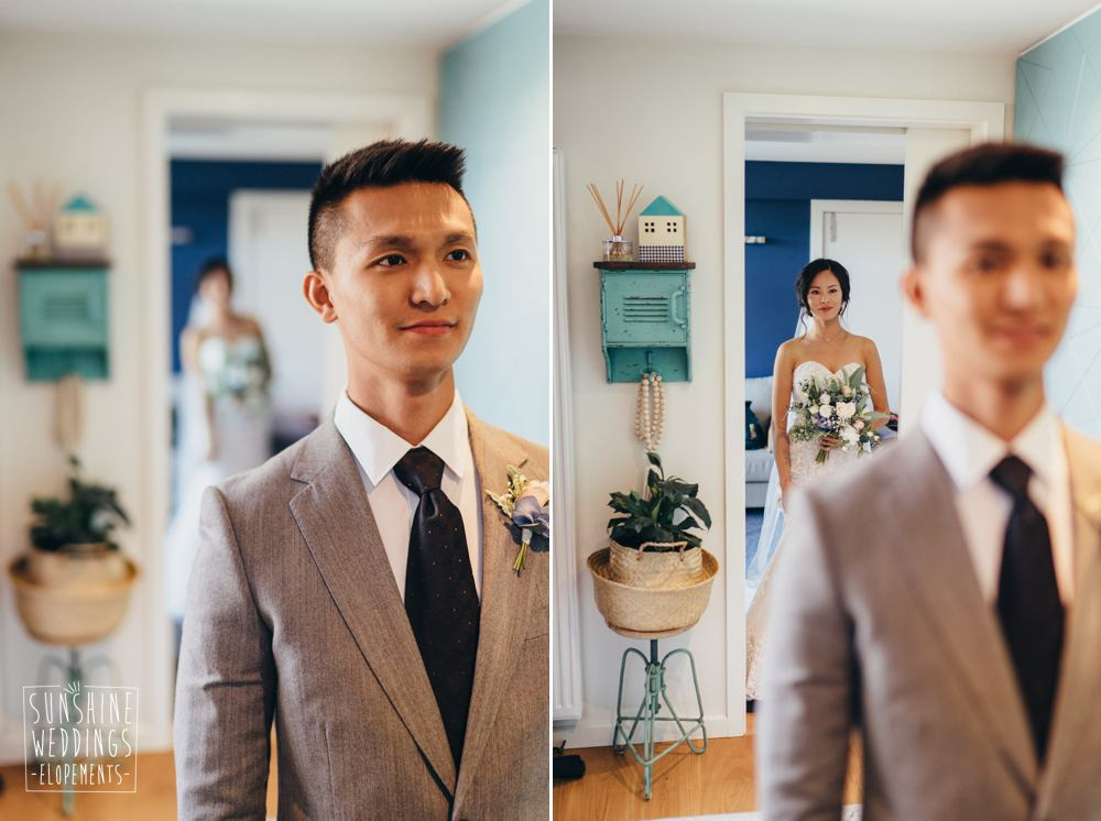 Bride and groom see each other for first time
