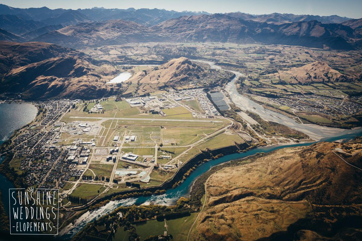 View from helicopter over queenstown