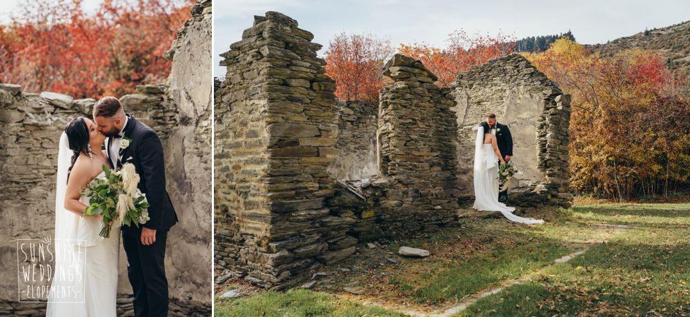 stone ruins autumn wedding