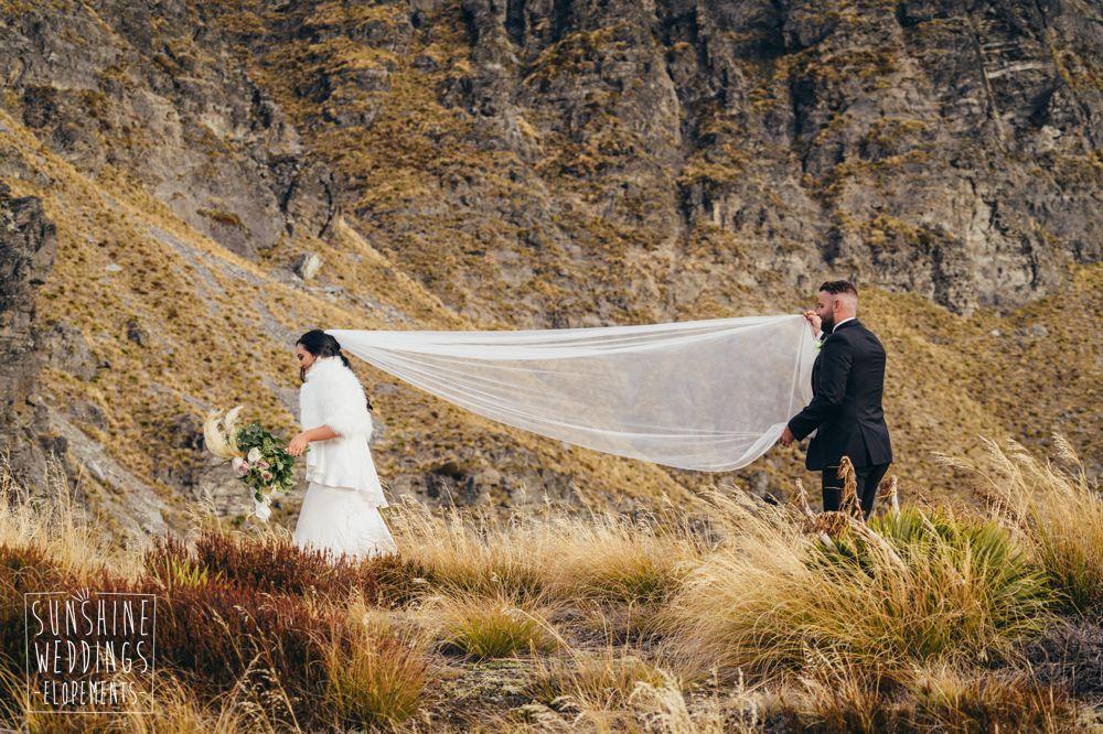 bride and veil Queenstown mountain Cecil Peak