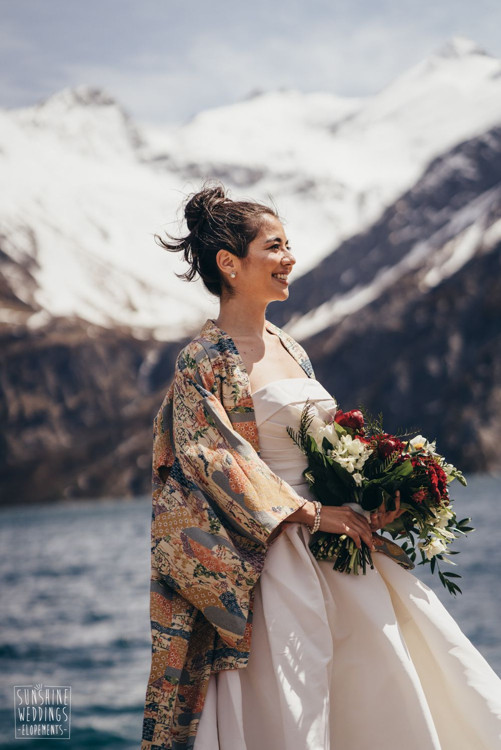 New Zealand elopement bride