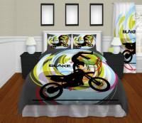 Gray Kids Motocross Bedding, Boys Sports Bedding , Dirt ...
