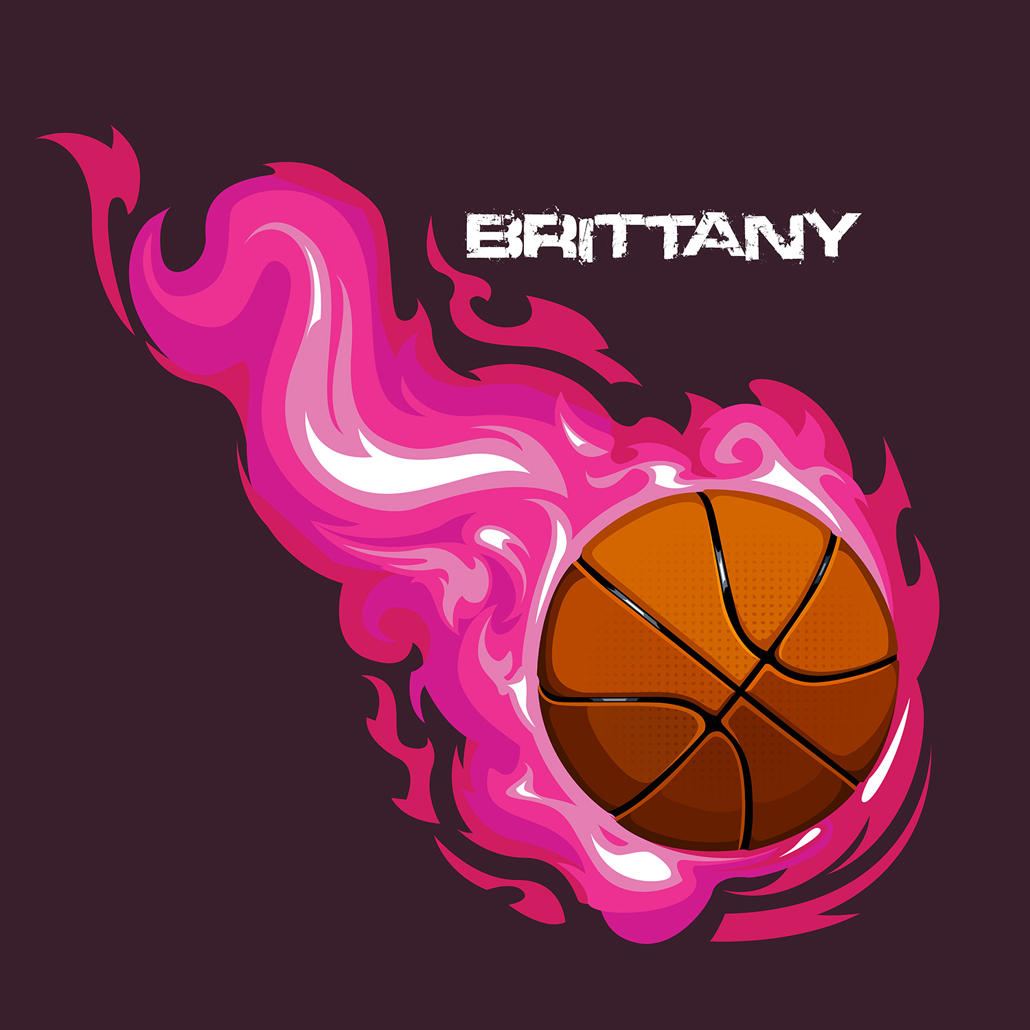 Girls Basketball Themed Bedding Set with Pink Flames and