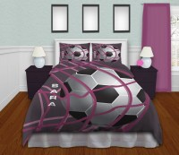 Girls Soccer Themed Comforter Set, Purple Background and ...
