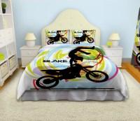 Motocross Comforter for Boys, White Bedding Set for Kids ...