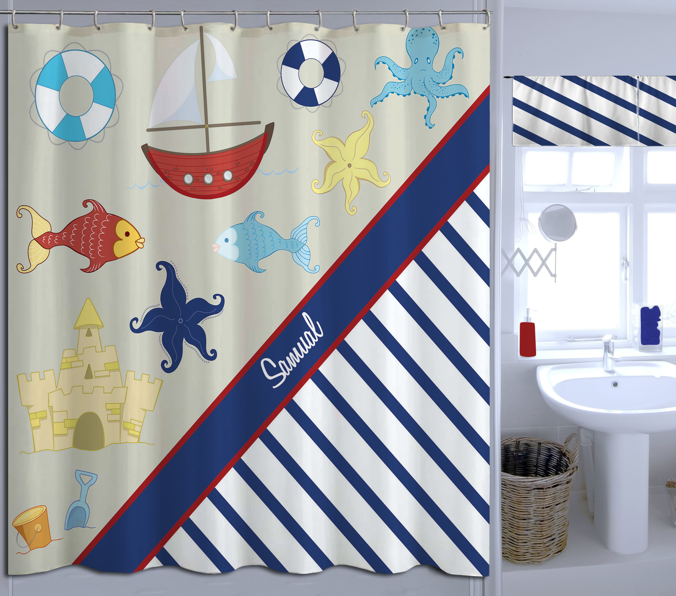nautical navy and white striped shower curtain extra long fabric curtain for boys 20 eloquent innovations