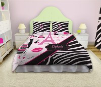 Eiffel Tower Girls Bedding with Paris theme with Black and ...