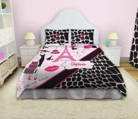 Animal Print Pink and Black Paris Bedding with ...