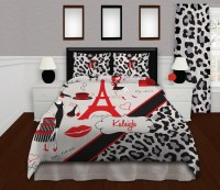 Red and Black Paris Bedding for Teens, with Gray Cheetah ...