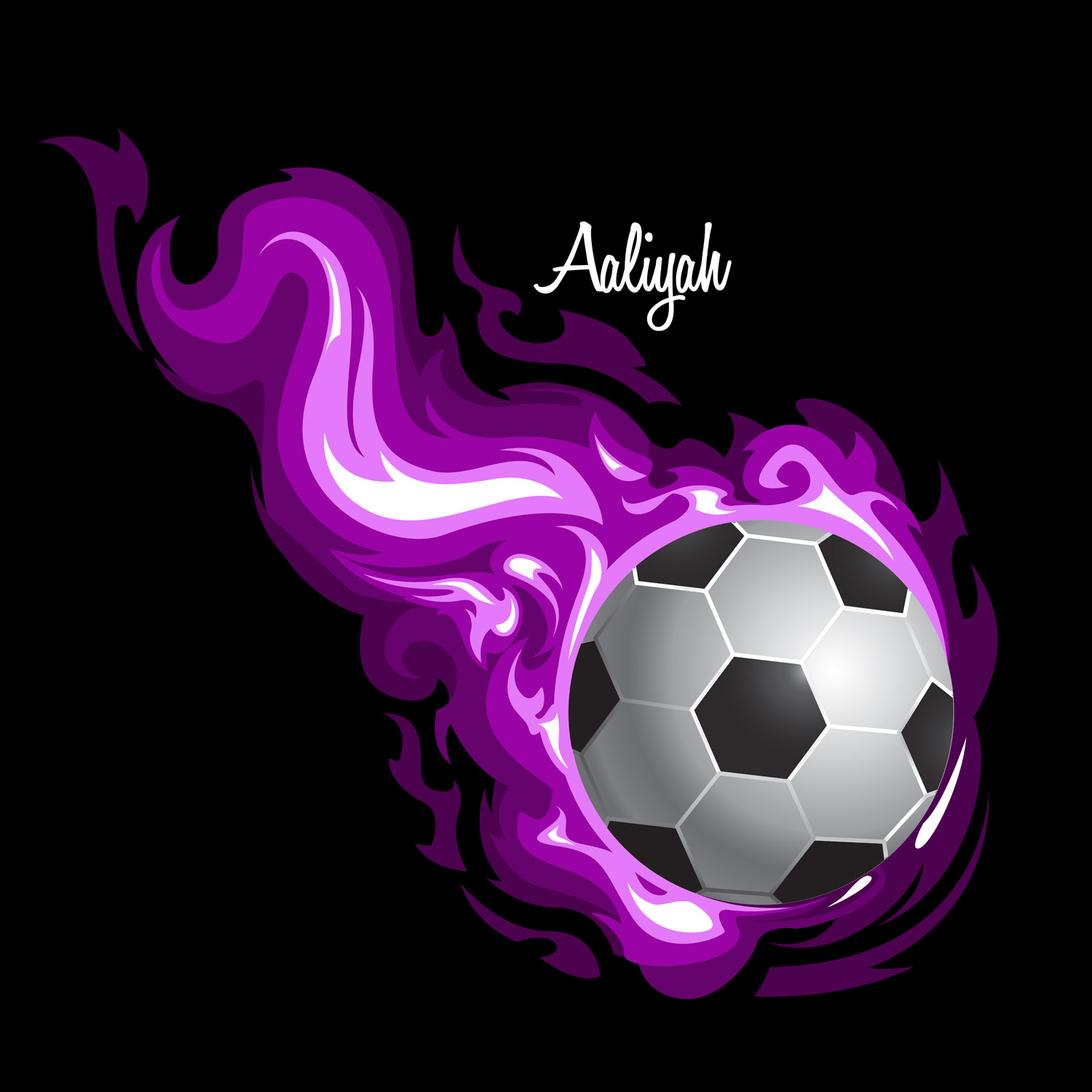 Girls Sport Soccer Duvet Cover with Purple Flames 142