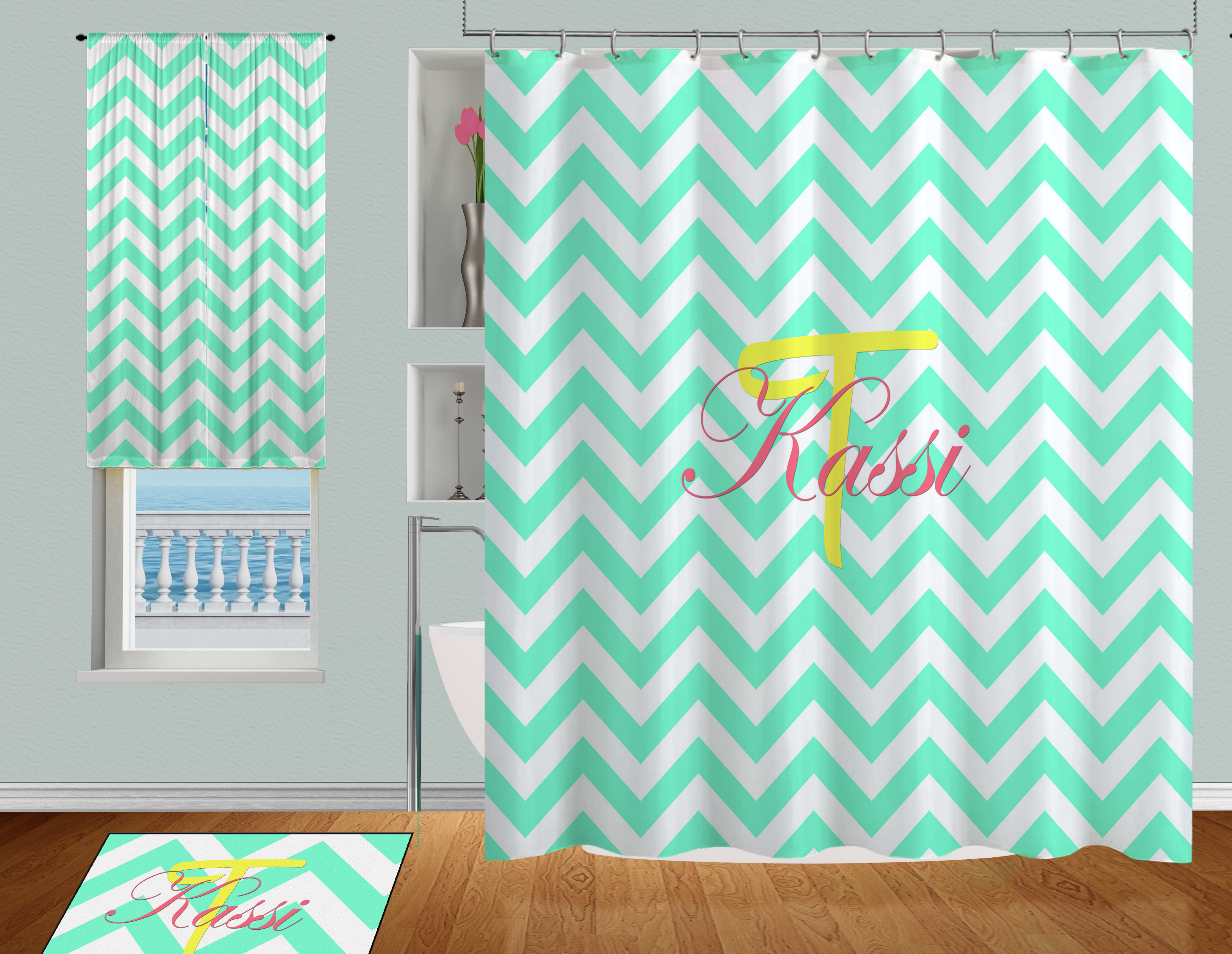 college aqua or teal colored shower curtain personalized in coral and yellow 93 eloquent innovations