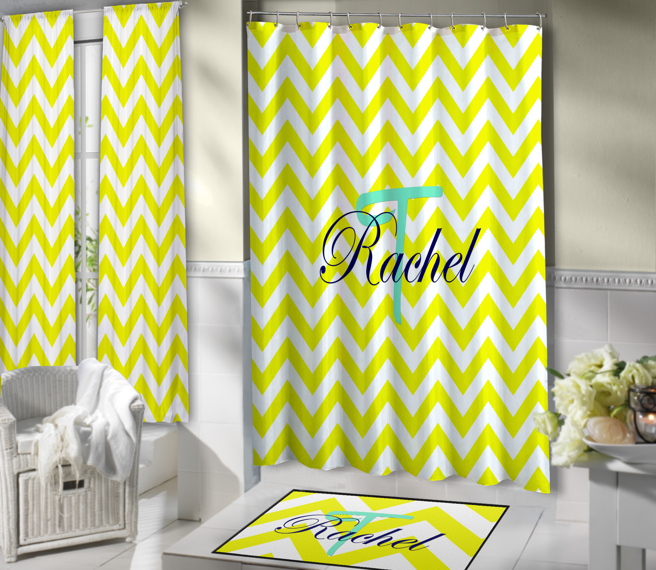 Bathroom Shower Curtain Yellow And White Dorm Bathroom Shower Curtain With Blue Personalization 94