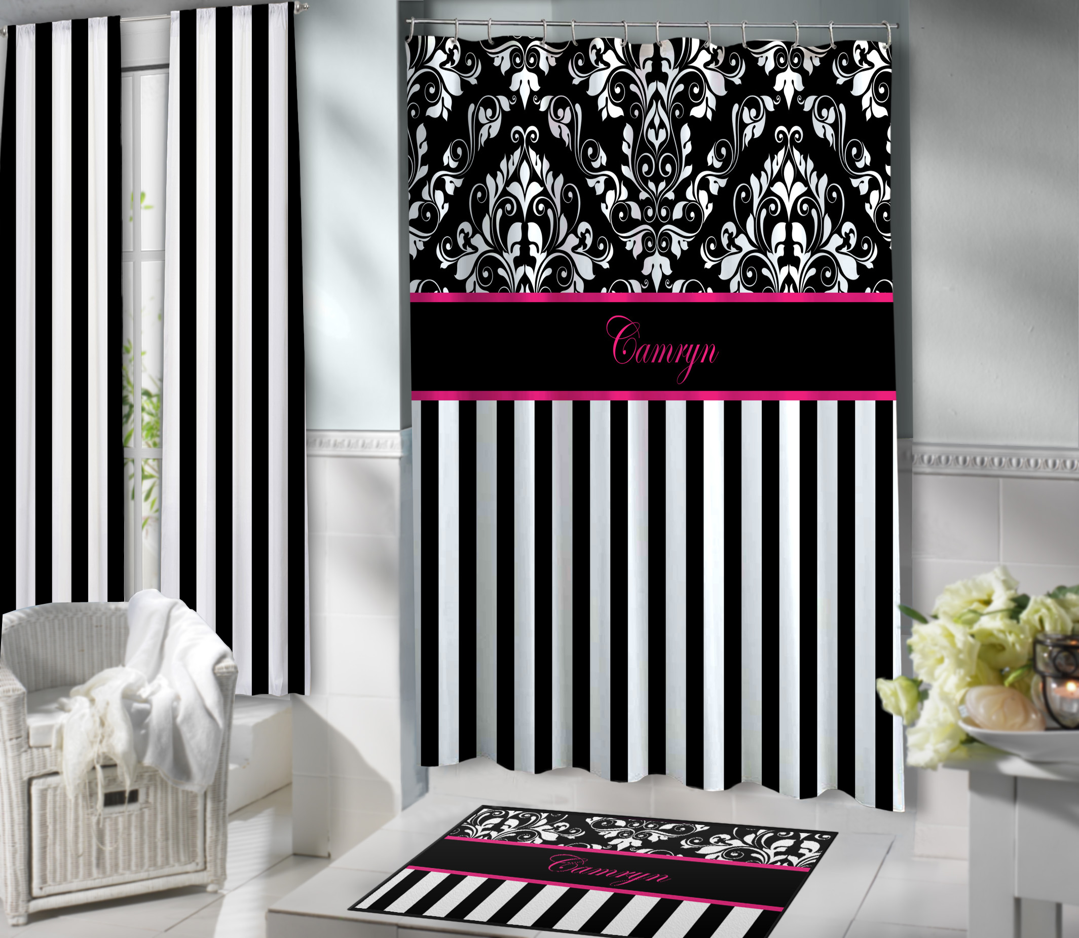 black and white striped shower curtain with damask print on top 137 eloquent innovations