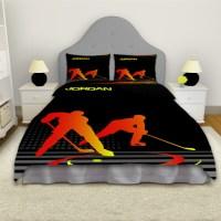 Hockey Orange and Black Duvet Cover, Ice Hockey Boys