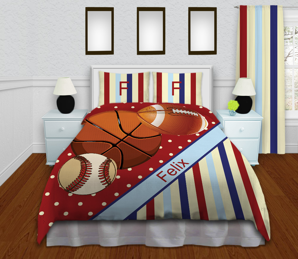 Kids Red Striped Sports Comforter Set with Basketball