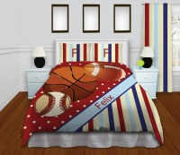 Kids Red Striped Sports Comforter Set with Basketball ...