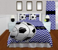 Black, White, and Blue Soccer Bedding for Kids and Teens