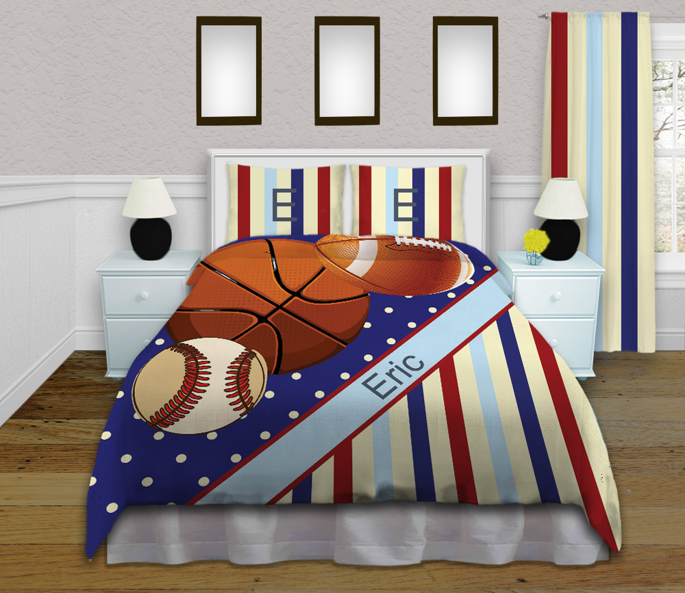 Sport Themed Boys Duvet Cover Kids Comforter Set With