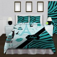 Paris Themed Bedding - Teal & Black Zebra Print ...