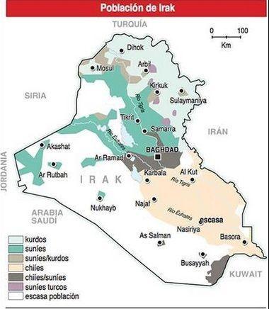 Oriente Medio - Irak - Población - Religión - Cultura - Distribución religiosa en Irak