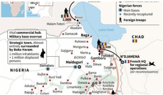 En esta infografía de AFP podemos ver el despliegue de las fuerzas chadianas en Níger, Camerún y Nigeria.