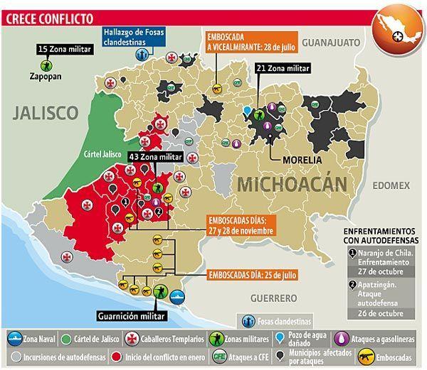 Mapa Michoacán conflicto