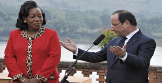 La presidenta interina, Catherine Samba-Panza, con su homólogo francés François Hollande