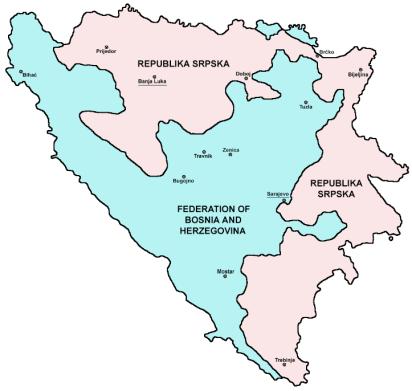 División territorial de Bosnia i Herzegovina tras los Acuerdos de Dayton
