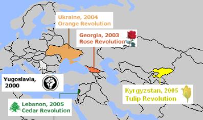 Mapa donde se pueden ver las cinco principales revoluciones de colores. La Revolución de los Cedros en Líbano se queda fuera de este análisis por no producirse en un espacio postsoviético o donde Rusia tenga intereses geopolíticos relevantes.