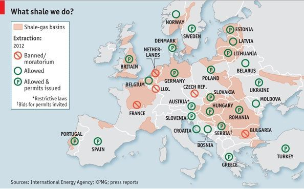 Situación legal del fracking para depósitos de gas natural en Europa. Fuente: The Economist