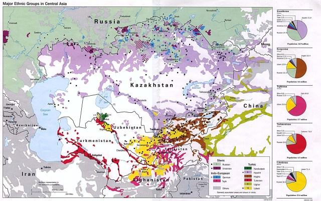 Mapa étnico de Asia Central. Fuente: http://www.oocities.org/ethnics_of_central_asia/