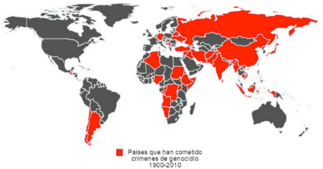 Países que han cometido genocidios a partir del año 1900. Mapa elaborado por Eduardo Saldaña