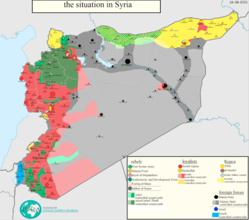 En rojo, las posesiones de los leales al gobierno, en verde las de la oposición, en amarillo los kurdos y en gris las posesiones de Daesh. Fuente: @arabthomness