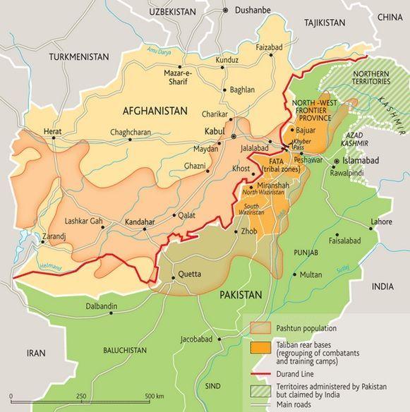 """Trazado de la Línea Durand, el """"Pastunistán"""" y las zonas tribales. Fuente: Le Monde Diplomatique"""