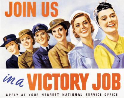 Cartel propagandístico de la II Guerra Mundial. En él se observa a mujeres en posiciones de apoyo