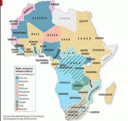 África - Economía - Producción - Recursos minerales