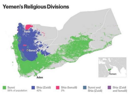 La división religiosa de Yemen. Fuente: http://www.bloomberg.com/quicktake/content/uploads/sites/2/2015/02/Yemen-Religious-Map.jpg
